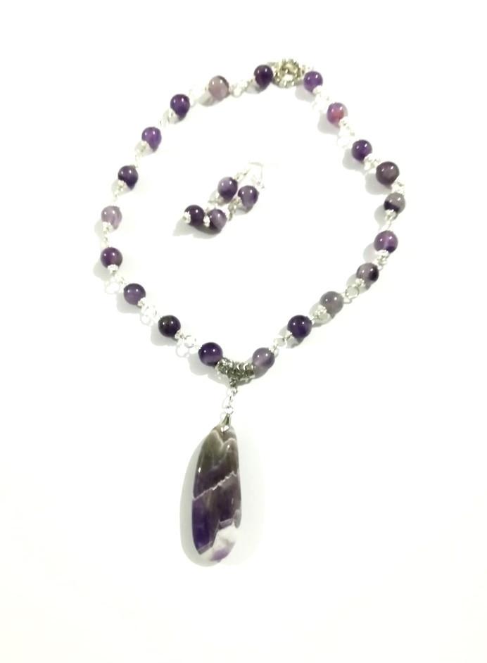 Комплект колье + серьги Аметист, натуральный камень, цвет фиолетовый и его оттенки, тм Satori \ Sn - 0025