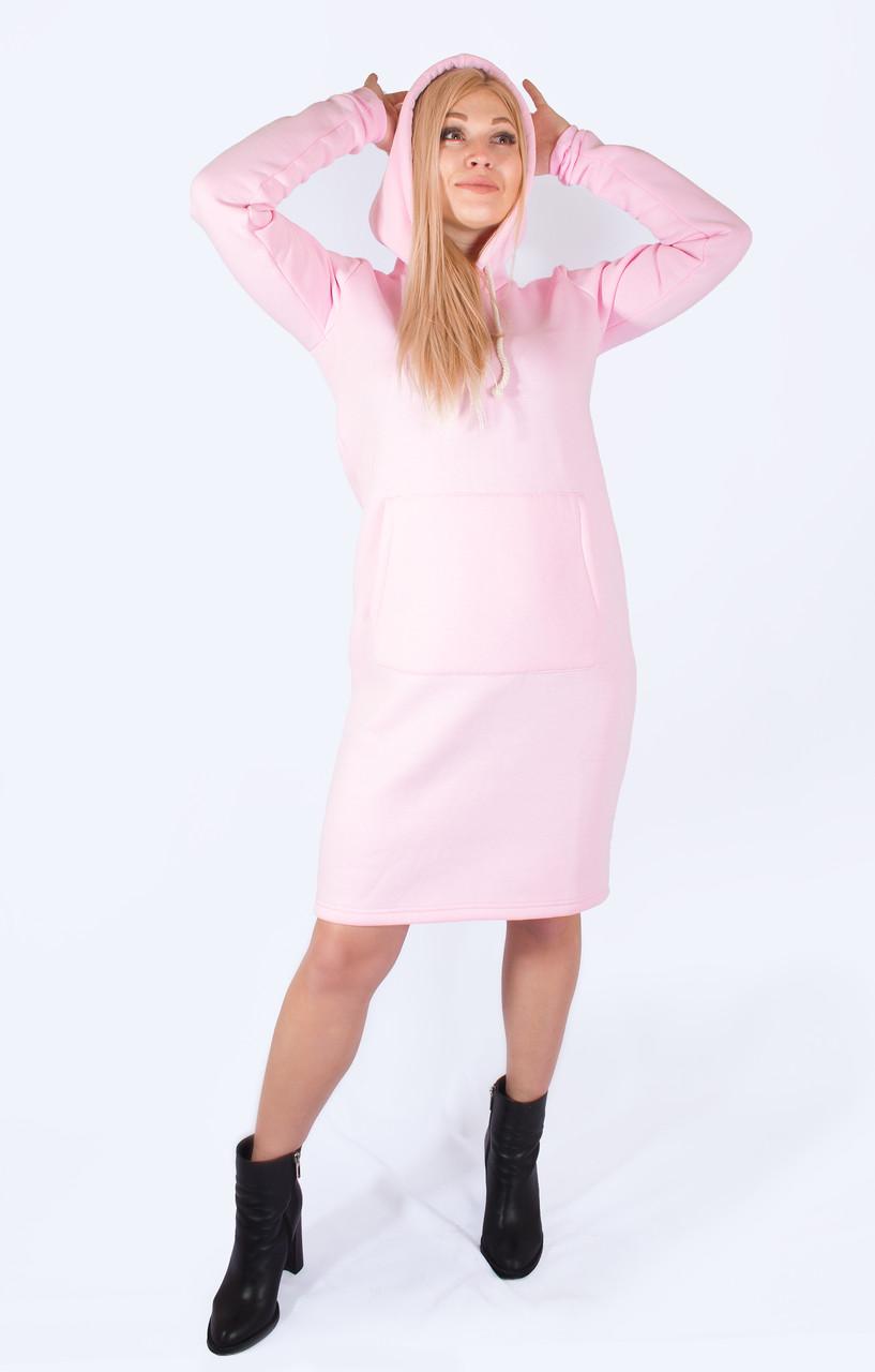 Женское платье с карманом кенгуру розового цвета
