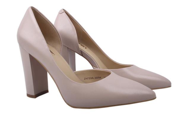 Туфли женские на высоком каблуке из натуральной кожи, бежевые, Anemone
