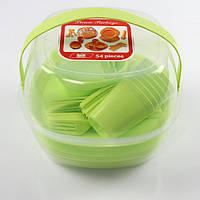 Набор туристической посуды GreenCamp, пластик, 54 предмета, салатовый