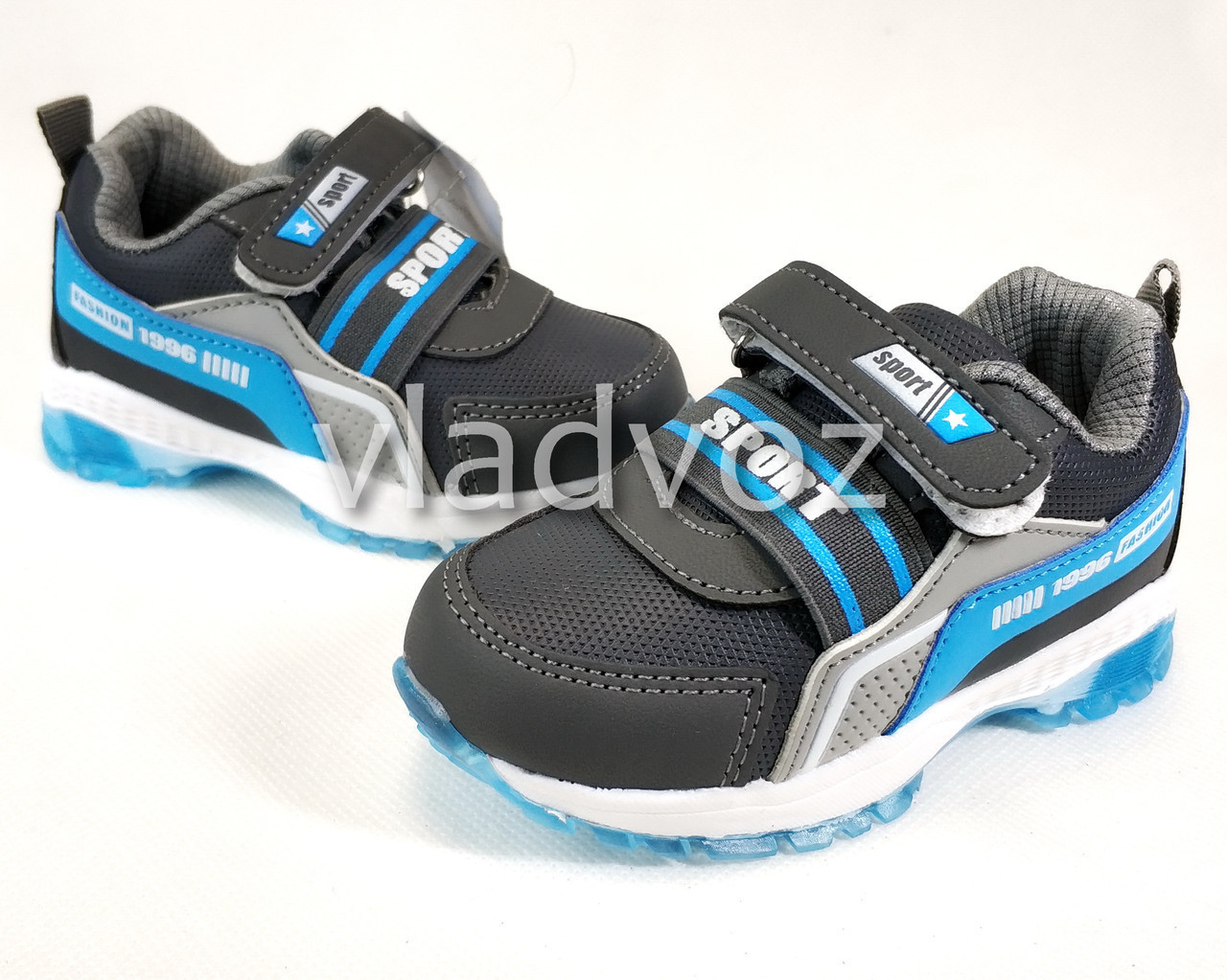 Детские светящиеся кроссовки с подсветкой для мальчика серые с синим 23р.