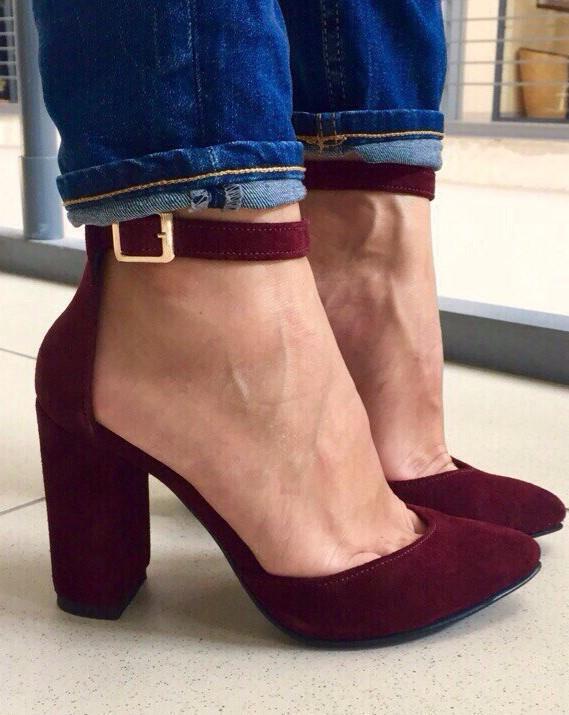 39 р. Туфли женские бордовые марсала замшевые на каблуке с ремешком, из натуральной замши, натуральная замша