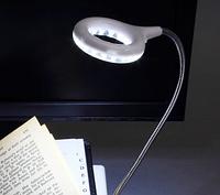 Портативний світильник з кліпсою і лупою 18 LED/діодів чорний