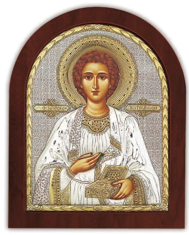 """Икона """"Святой целитель Пантелеймон"""" 15,6х19см из  серебра 925 пробы  (Греция)"""