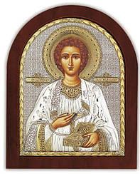 """Икона """"Святой целитель Пантелеймон"""" 13х11см из  серебра 925 пробы  (Греция)"""