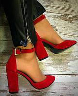 38 р. Туфли женские красные замшевые на каблуке с ремешком,из натуральной замши,натуральная замша,классические, фото 1