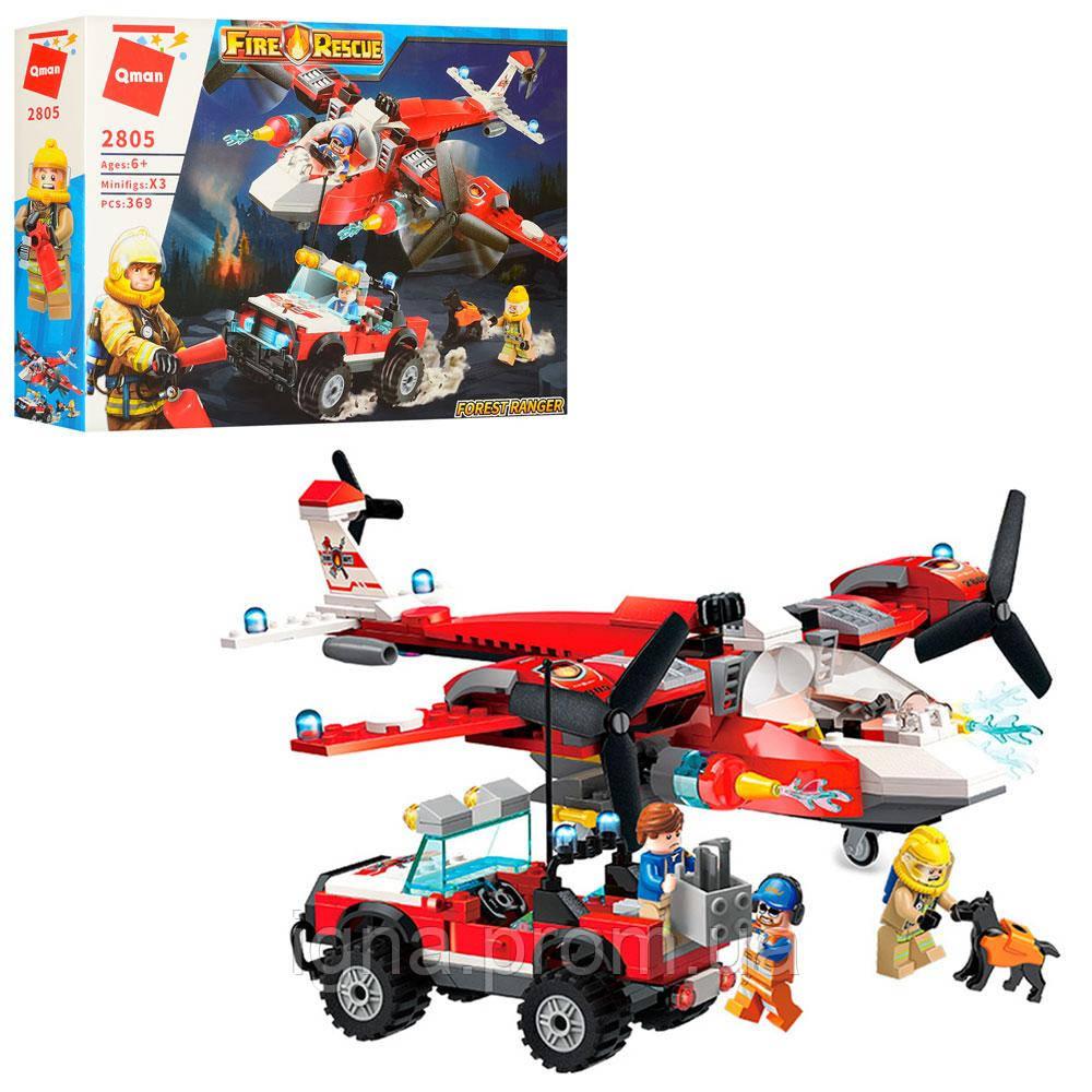 Конструктор 2805 (24шт) пожарн, самолет, джип, фигурки, 369дет, в кор-ке, 37-28-7см