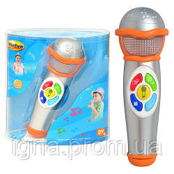 Микрофон 2052 NL (12шт) звук, свет, на бат-ке, в слюде, 21-17-8см