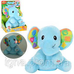 Животное 0695-NL (6шт) слон(плюш),24см,муз,зв,свет,двиг.головой,на бат-ке,в кор-ке,25-30-15см