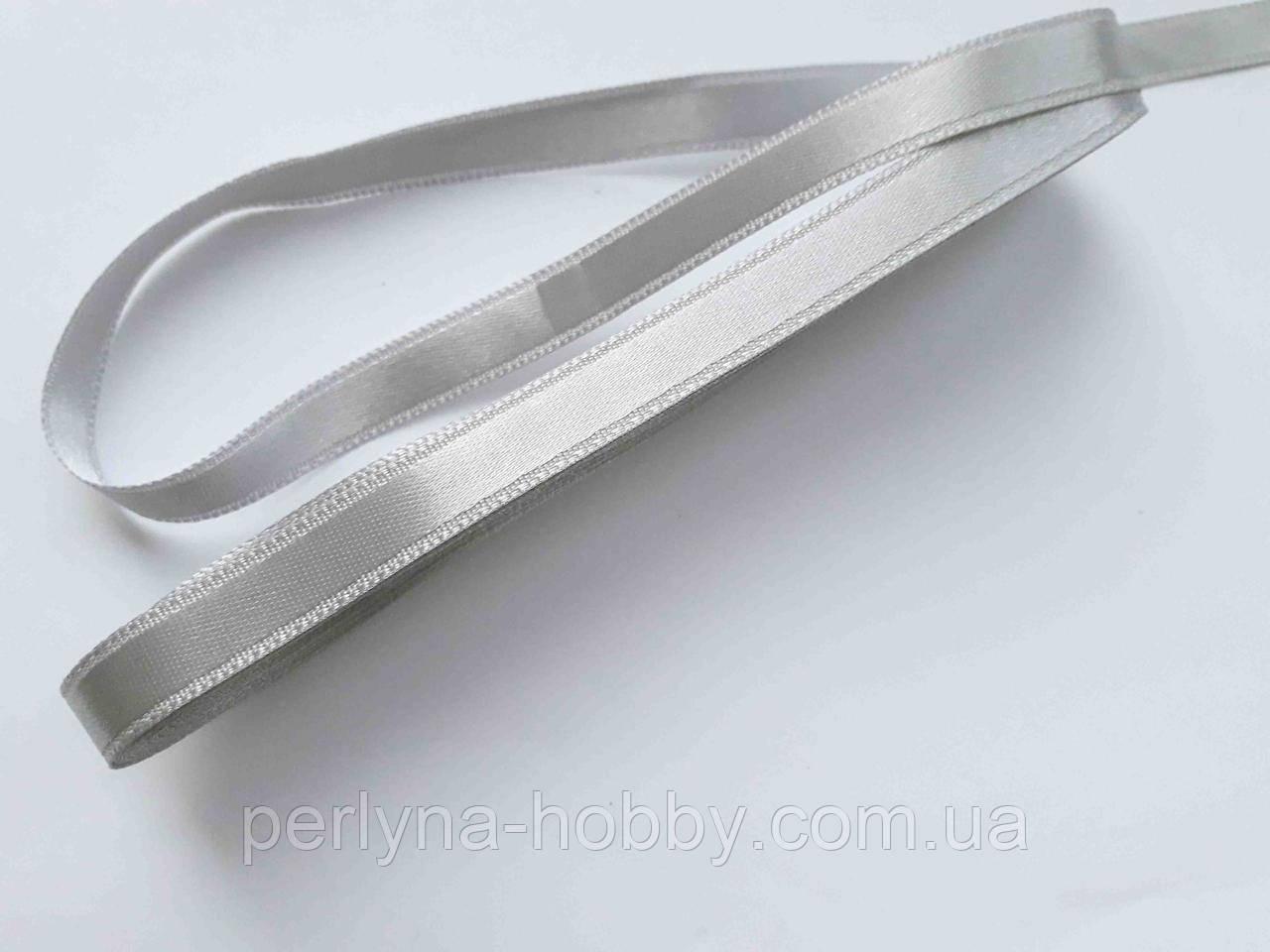 Стрічка атласна  двостороння 1 см. (10 метрів) сірий сталь 810