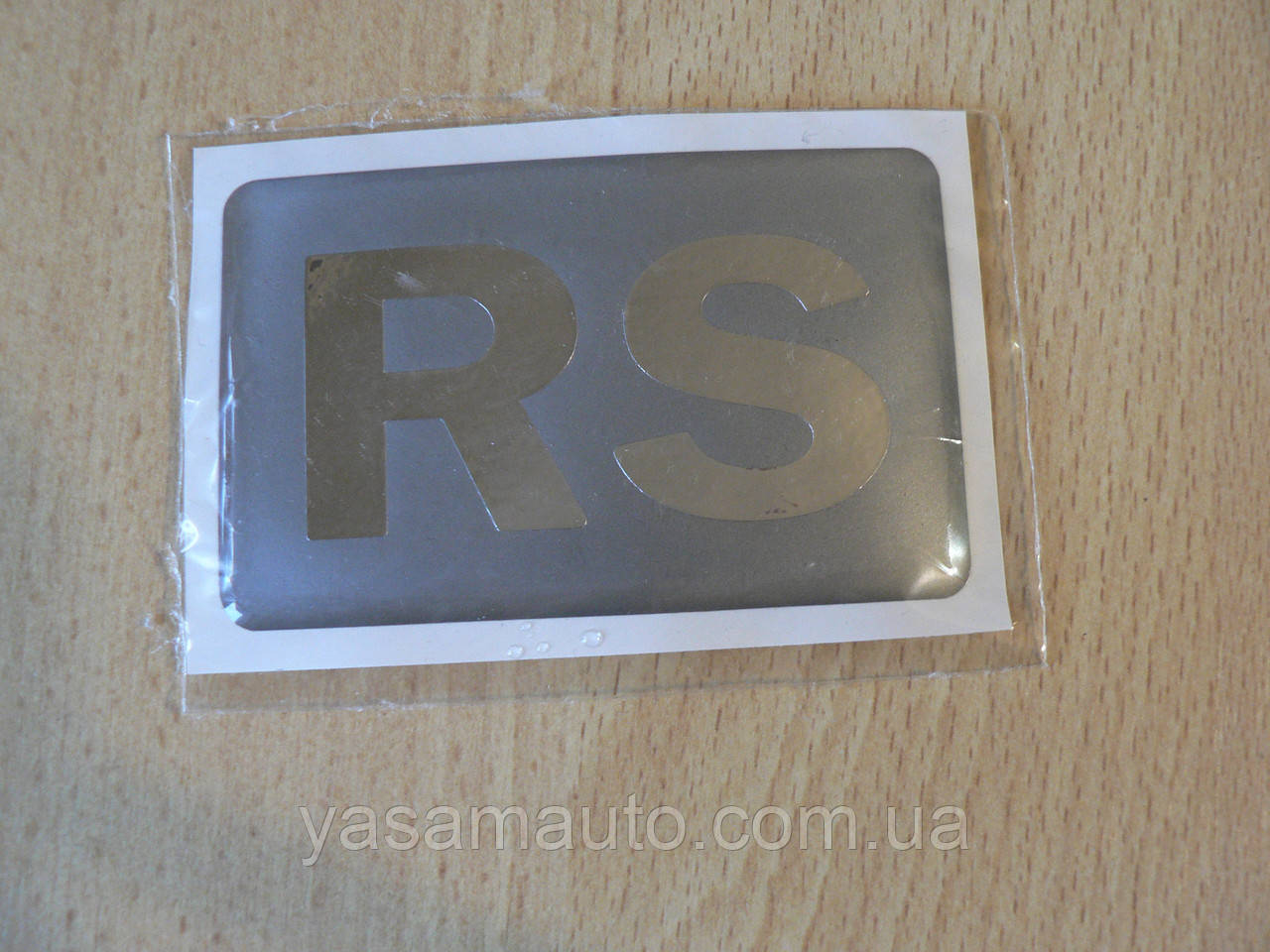 Наклейка s надпись RS 80х50х1мм силиконовая полоска на авто надпись логотип РС медальон
