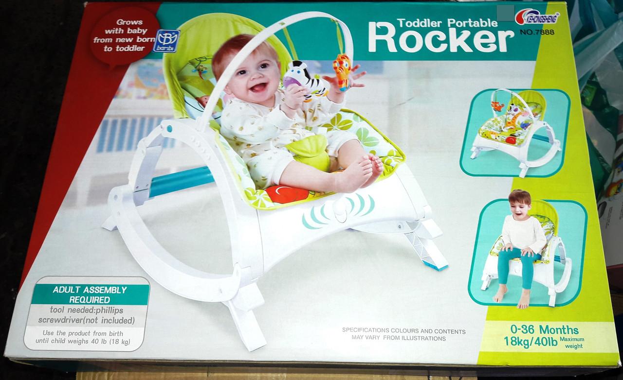 Шезлонг качалка для малышей Bambi Rocker 7888 аналог Fisher Price