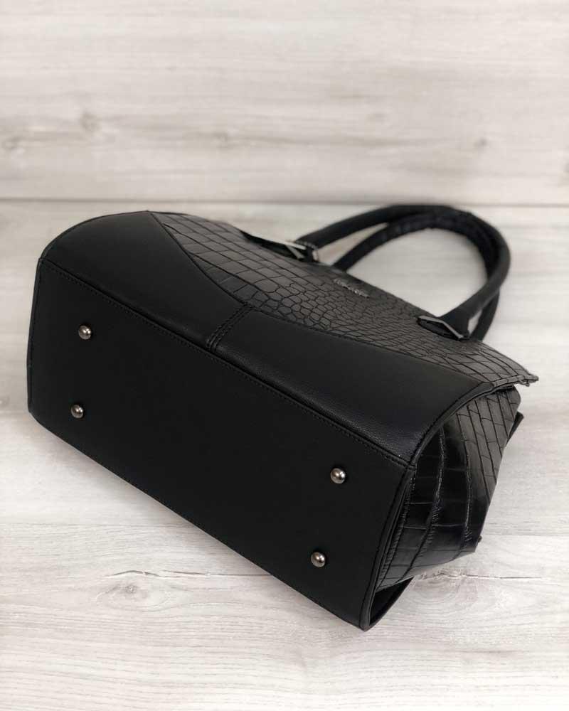 4a0f8f225423 ... Каркасная женская сумка Виржини черного цвета со вставками черный  крокодил, ...