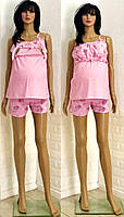 Пижама для кормящих мам розового цвета с шортами и майкой 44-50 р