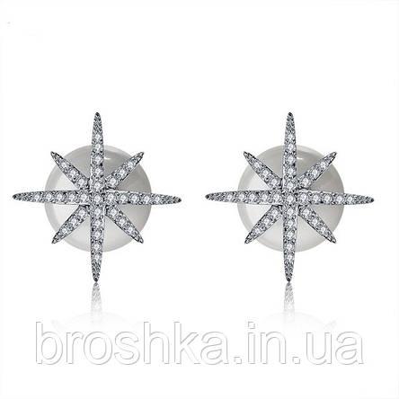 Серьги пусеты звезды метеориты с жемчужной застежкой, фото 2