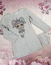 Платье для девочек с сумочкой Марта 110-128 серый 116