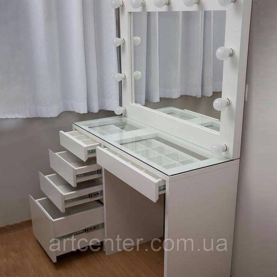 Стол для визажиста с витриной в столешнице, туалетный стол с зеркалом и выдвижными ящиками
