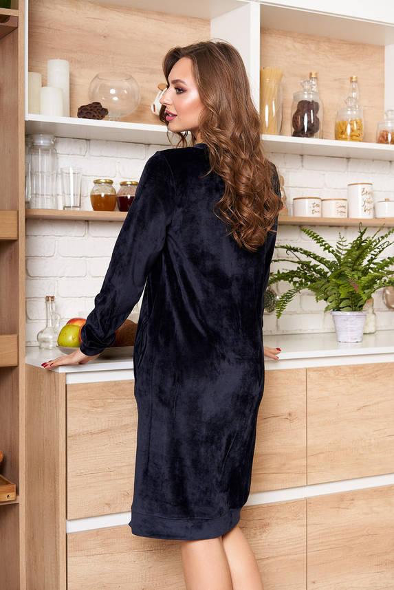 Платье миди из велюра темно-синее, фото 2