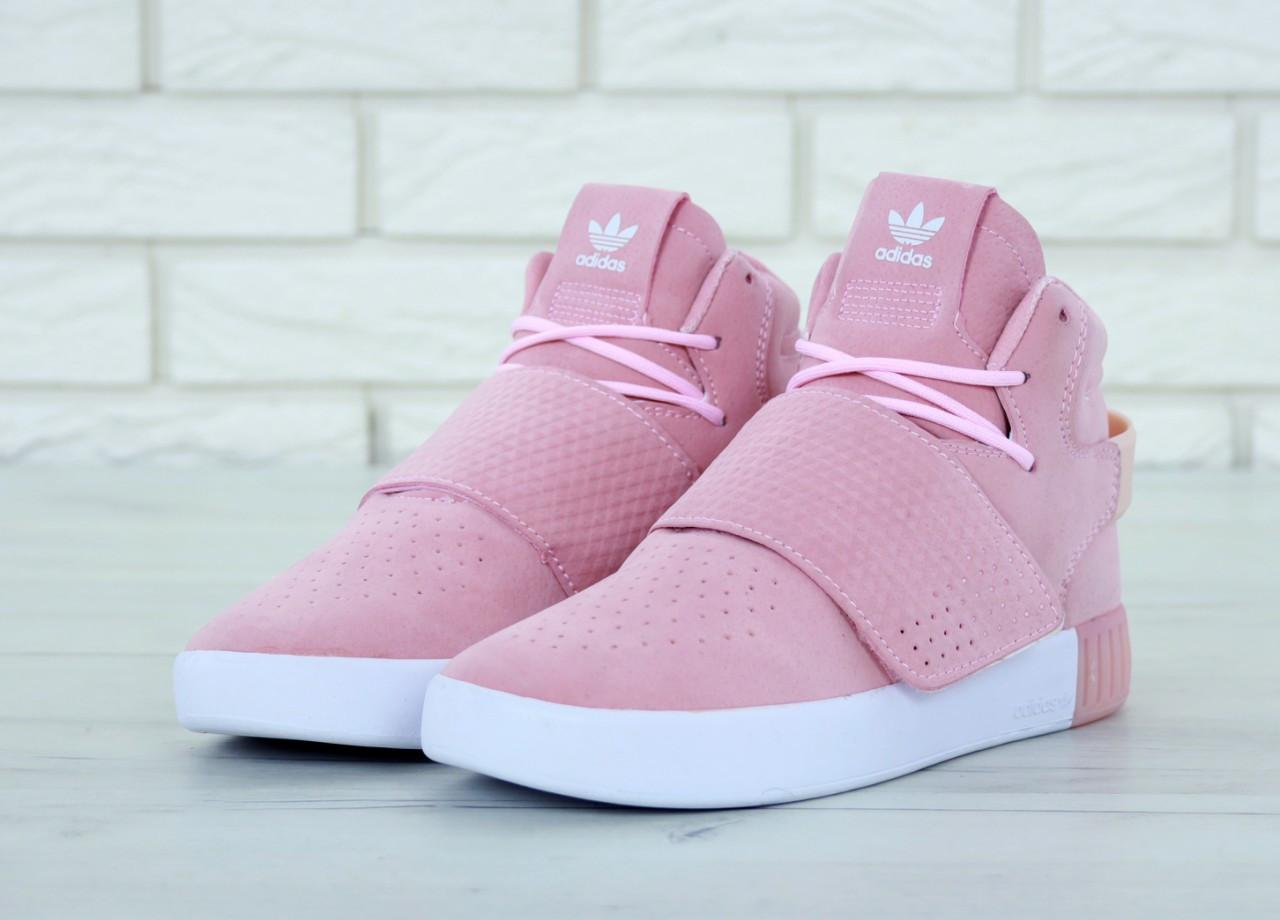 981d58bbc Женские кеды Adidas Tubular замшевые весенние стильные высокие качественные  модные (розовые), ТОП-
