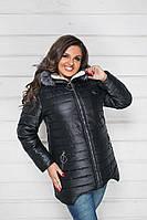 """Стеганая женская зимняя куртка """"SHEBA"""" с капюшоном (большие размеры)"""