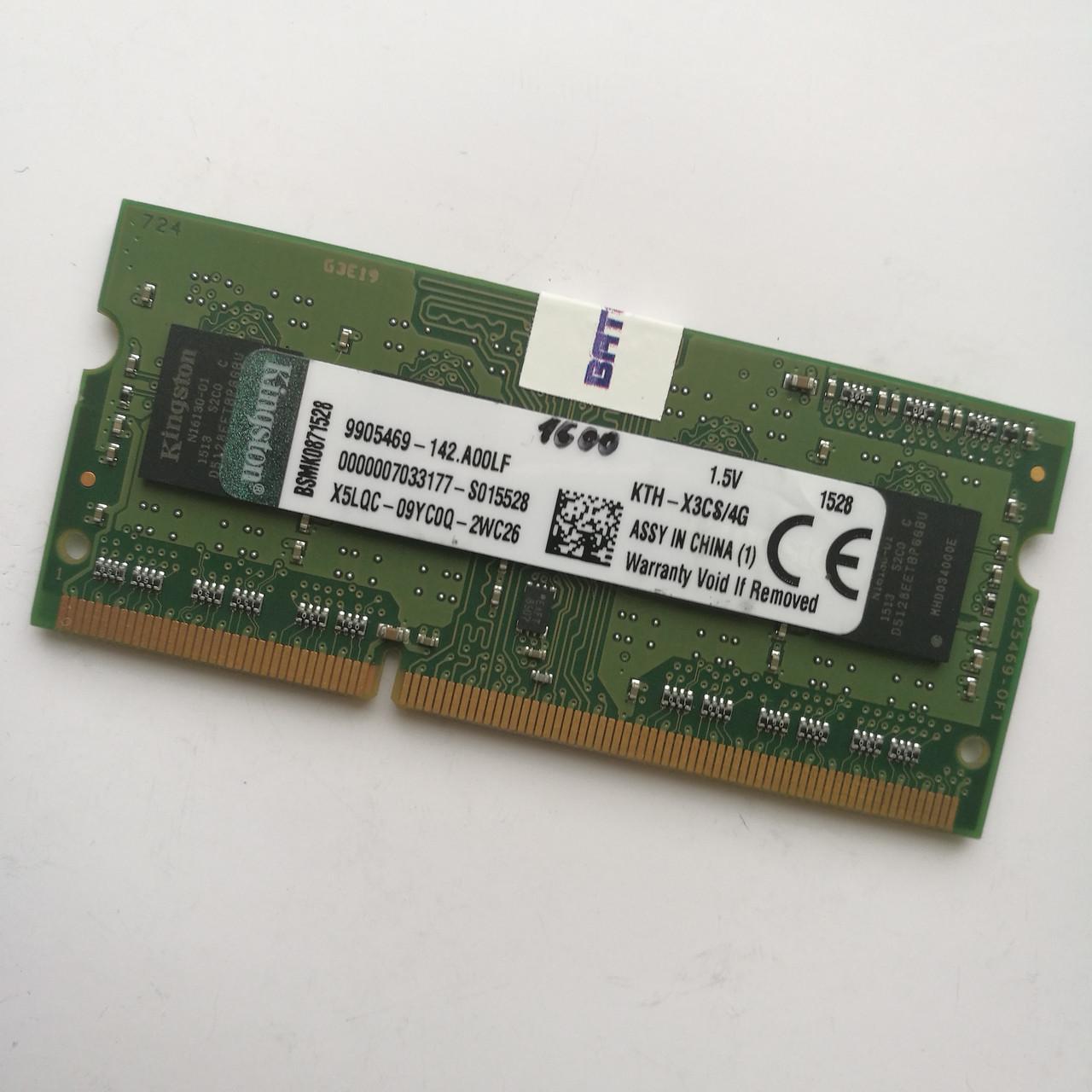 Оперативная память для ноутбука Kingston SODIMM DDR3 4Gb 1600MHz 12800s CL11 (KTH-X3CS/4G) Б/У