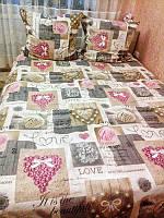 Качественное постельное белье Love, евро набор