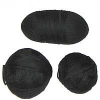 Остатки пряжи, нитки для вязания ЧЕРНЫЕ, шерсть, вес 700 гр