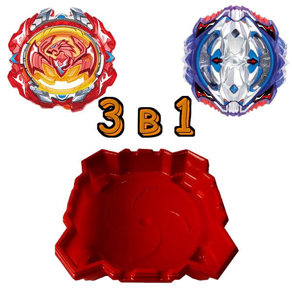 Набор 3 в 1: Арена большая + Бейблейд Вайс Леопард  S3 и Beyblade Возрожденный Феникс SB