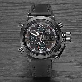 Ударопрочные кварцевые армейские часы AMST Black Оригинал