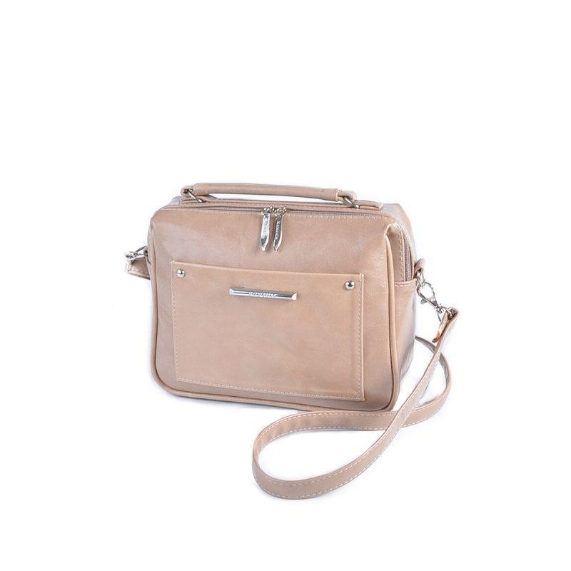 Коричневая маленькая женская сумка М181-31/29 кросс-боди через плечо глянцевая