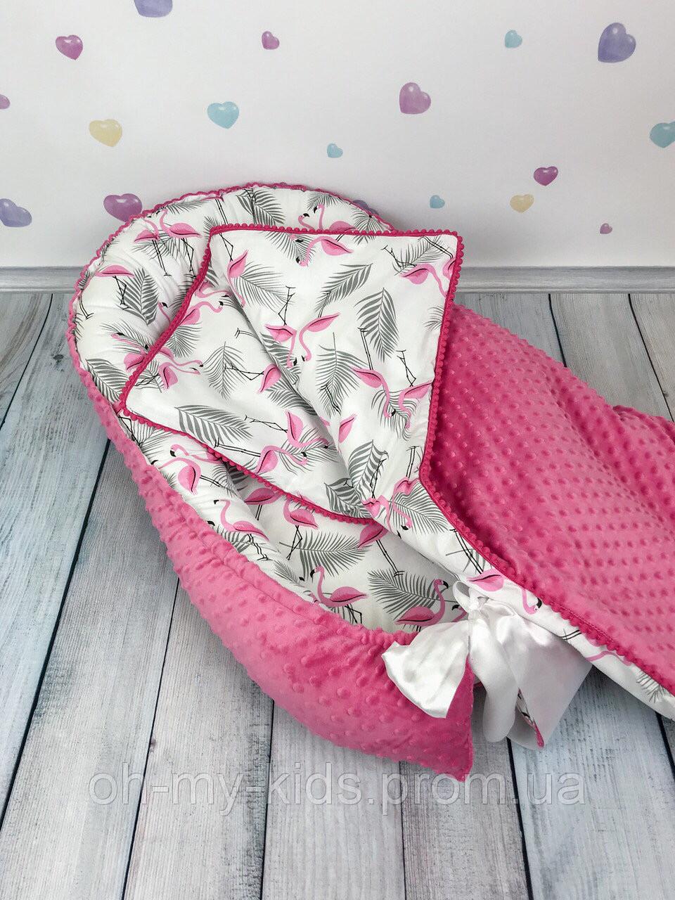 """Кокон-гнёздышко для новорожденного с кокосовым матрасом """"Малиновые Фламинго"""""""