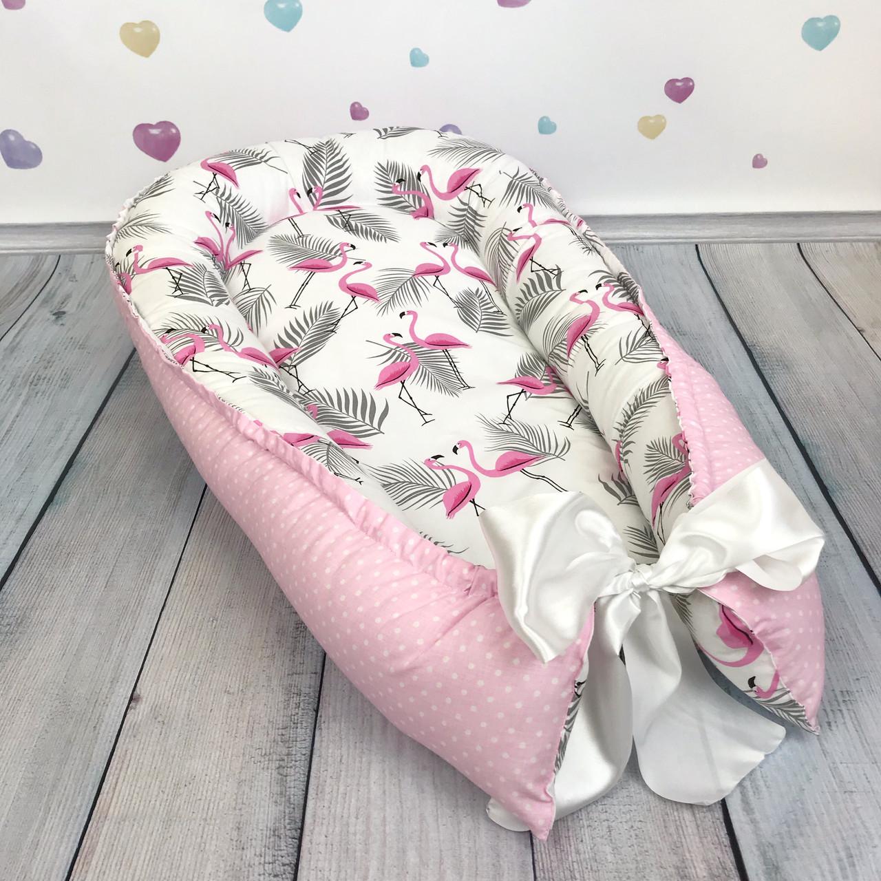 """Кокон-гнёздышко для новорожденного с кокосовым матрасом """"Flamingo"""""""