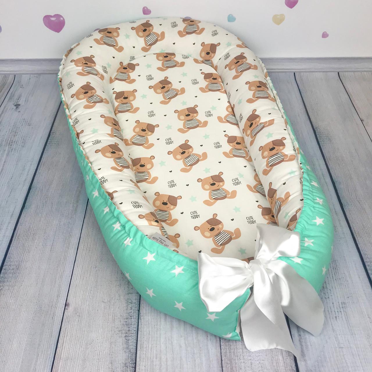 """Кокон-гнёздышко для новорожденного с кокосовым матрасом """"Teddy Bear"""""""