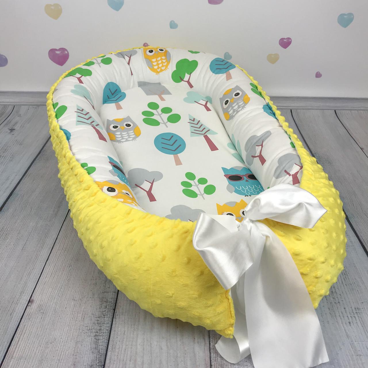 """Кокон-гнёздышко для новорожденного с кокосовым матрасом """"Совы с желтым плюшем"""""""