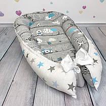 """Кокон-гнёздышко для новорожденного """"Весёлые зверята"""" с поролоновым матрасом, фото 2"""