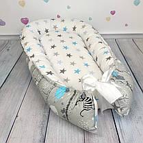 """Кокон-гнёздышко для новорожденного """"Весёлые зверята"""" с поролоновым матрасом, фото 3"""