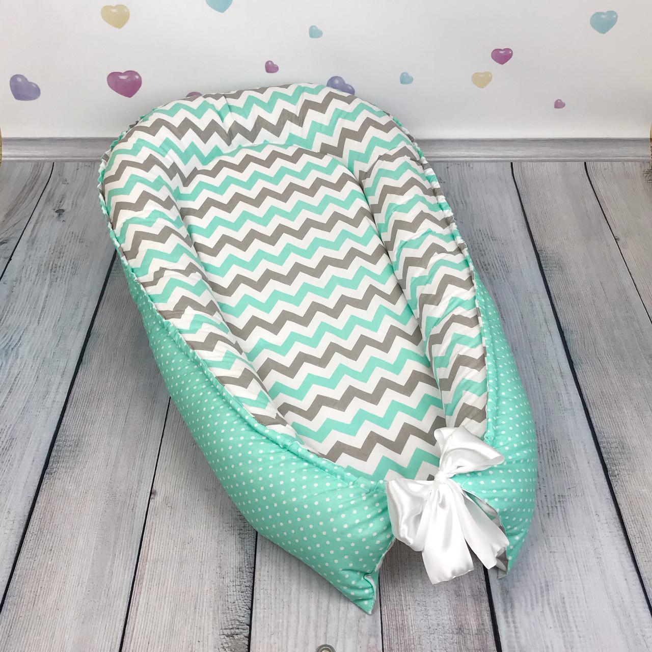 """Кокон-гнёздышко для новорожденного """"Mint Waves"""" с поролоновым матрасом"""