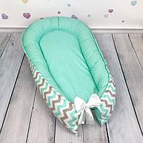 """Кокон-гнёздышко для новорожденного """"Mint Waves"""" с поролоновым матрасом, фото 2"""