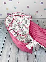 """Кокон-гнёздышко для новорожденного """"Малиновые Фламинго"""" с поролновым матрасом"""
