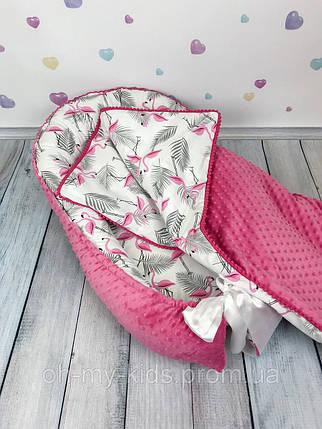 """Кокон-гнёздышко для новорожденного """"Малиновые Фламинго"""" с поролновым матрасом, фото 2"""