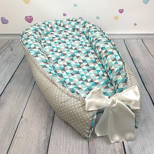 """Кокон-гнёздышко для новорожденного """"Лазурный"""" с поролоновым матрасом, фото 2"""