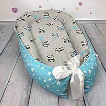 """Кокон-гнёздышко для новорожденного """"Pandas in Blue"""" с поролоновым матрасом, фото 2"""