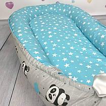 """Кокон-гнёздышко для новорожденного """"Pandas in Blue"""" с поролоновым матрасом, фото 3"""