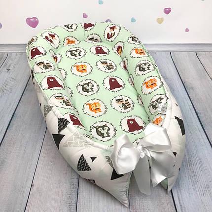 """Кокон-гнёздышко для новорожденного """"Зверята в кружочках"""" с поролоновым матрасом, фото 2"""