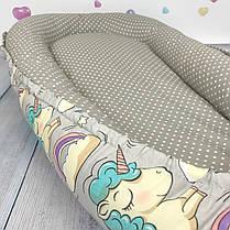 """Кокон-гнёздышко для новорожденного """"Uniсorns in Grey"""" с поролоновым матрасом, фото 2"""