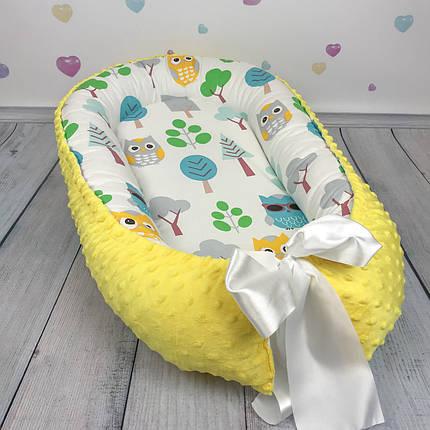 """Кокон-гнёздышко для новорожденного """"Совы с желтым плюшем"""" с поролоновым матрасом, фото 2"""