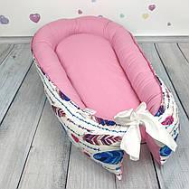 """Кокон-гнёздышко для новорожденного """"Перья"""" с поролоновым матрасом, фото 2"""
