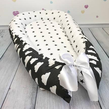 """Кокон-гнёздышко для новорожденного с кокосовым матрасом """"Монохром"""", фото 2"""