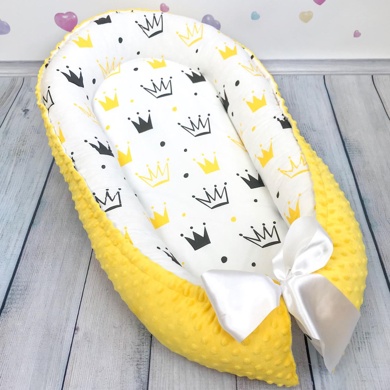 """Кокон-гнёздышко для новорожденного с кокосовым матрасом """"Crown in yellow"""""""