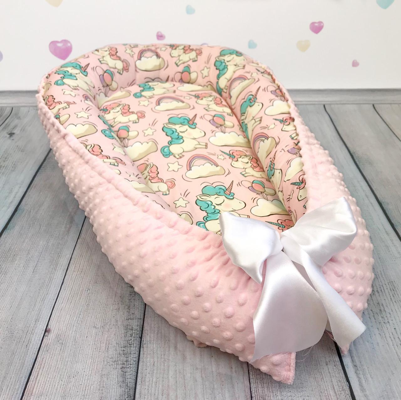 """Кокон-гнёздышко для новорожденного """"Pink Unicorns"""" с поролоновым матрасом"""